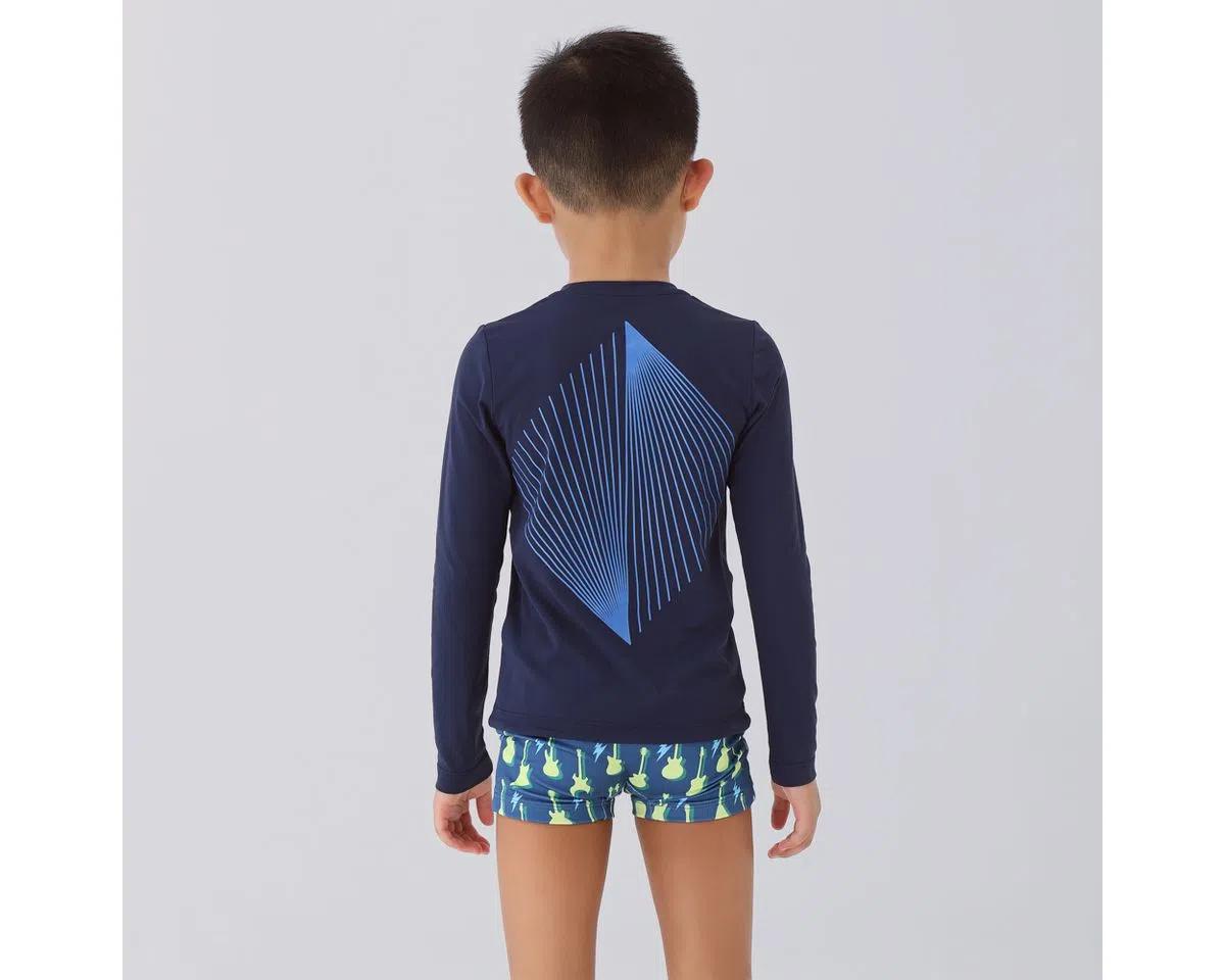 UV LINE Camiseta Fit Sports Manga Longa Infantil Marinho Proteção Solar