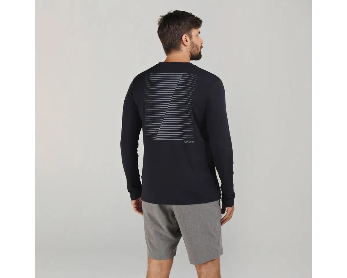 UV LINE Camiseta Fit Sports Manga Longa Masculino Preto Proteção Solar