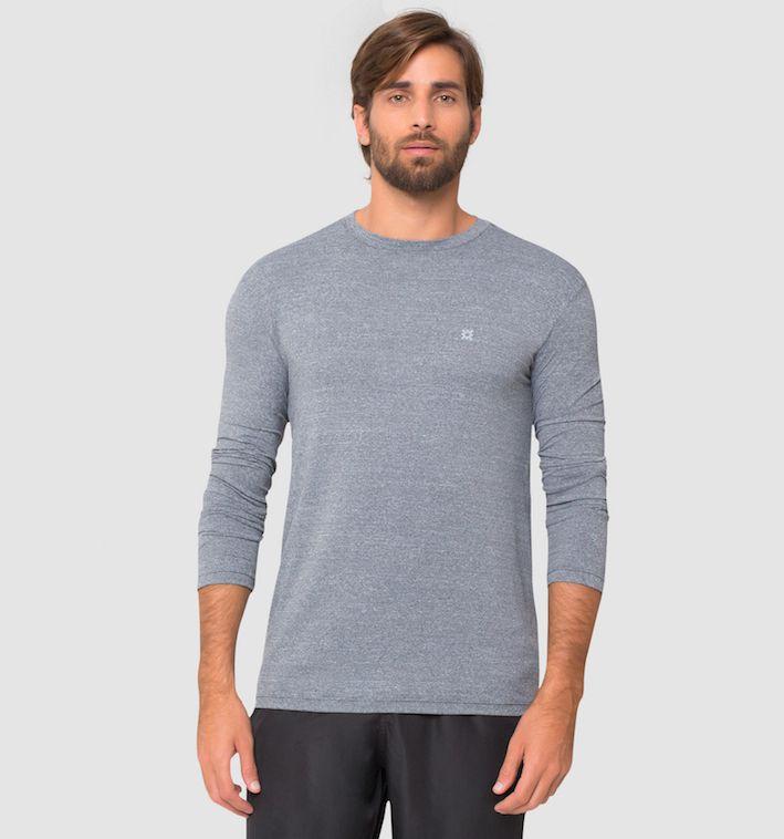 UV LINE Camiseta Fit Surf Manga Longa Mescla Masculina Proteção Solar