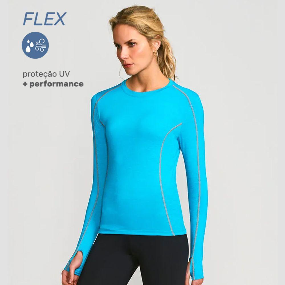 UV LINE Camiseta Flex Manga Longa Feminino Azul Bic Proteção Solar