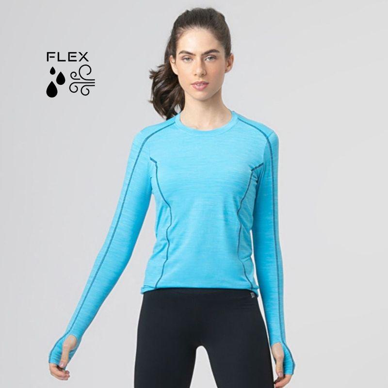 UV LINE Camiseta Flex Manga Longa Feminino Azul Céu Proteção Solar