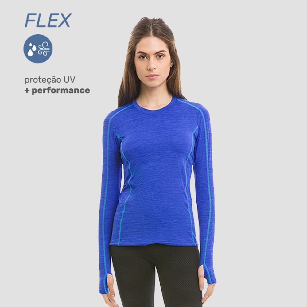 UV LINE Camiseta Flex Manga Longa Feminino Marinho Proteção Solar