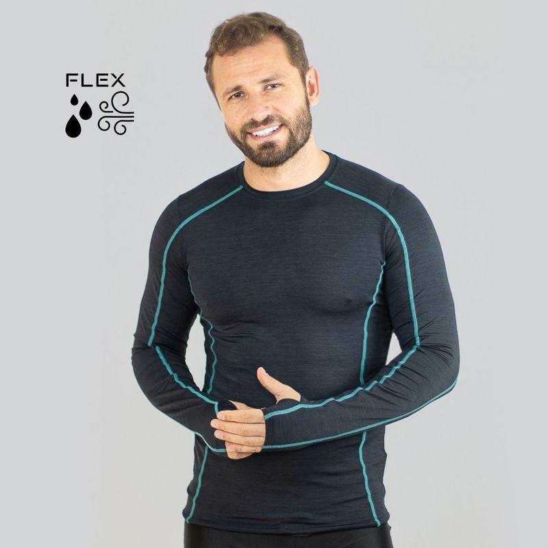 UV LINE Camiseta Flex Manga Longa Masculina Preto Proteção Solar