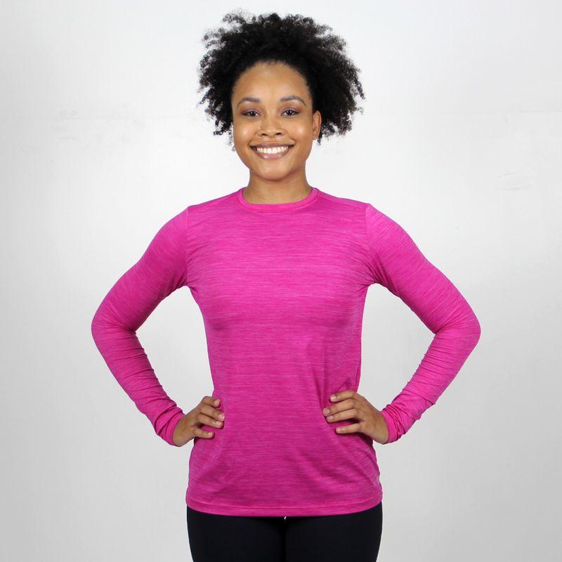 UV LINE Camiseta Flex Pro Manga Longa Feminino Rosa Proteção Solar
