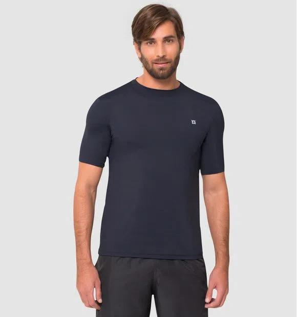 UV LINE Camiseta Masculina Manga Curta Uvpro Preta Proteção Solar