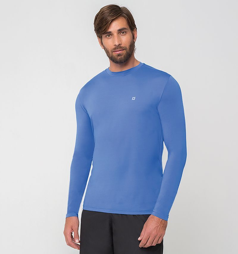 UV LINE Camiseta Masculina Manga Longa Uvpro Azul Bic Proteção Solar