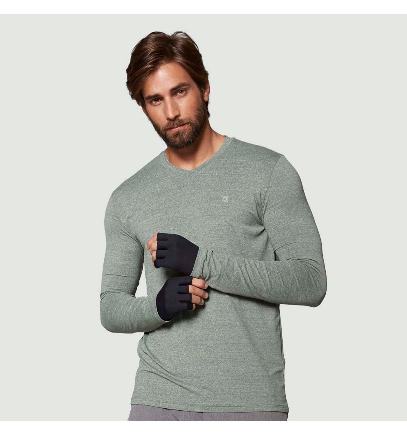 UV LINE Camiseta Sport Fit Manga Longa Masculina Amarelo Mescla Proteção Solar