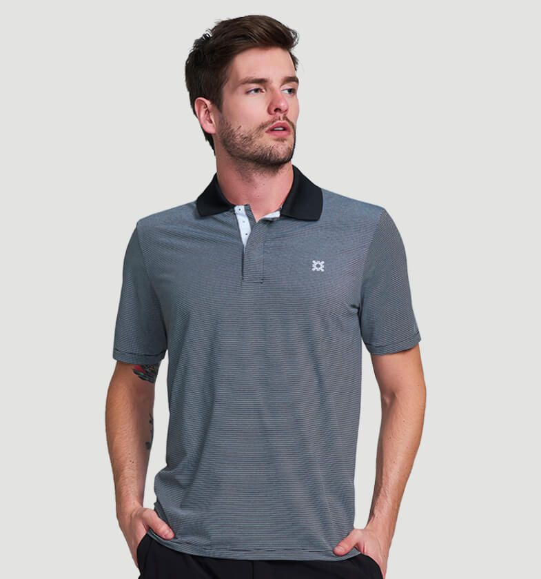 UV LINE Camiseta Polo Mescla Manga Curta Masculina Proteção Solar