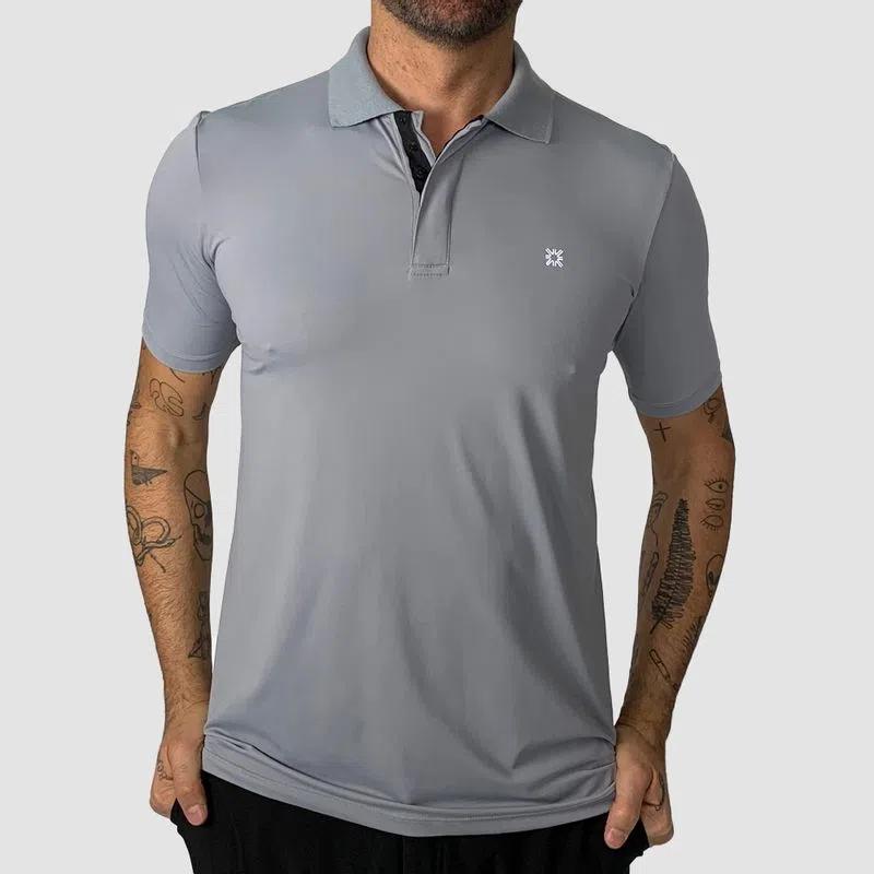 UV LINE Camiseta Polo Manga Curta Masculino Cinza Proteção Solar