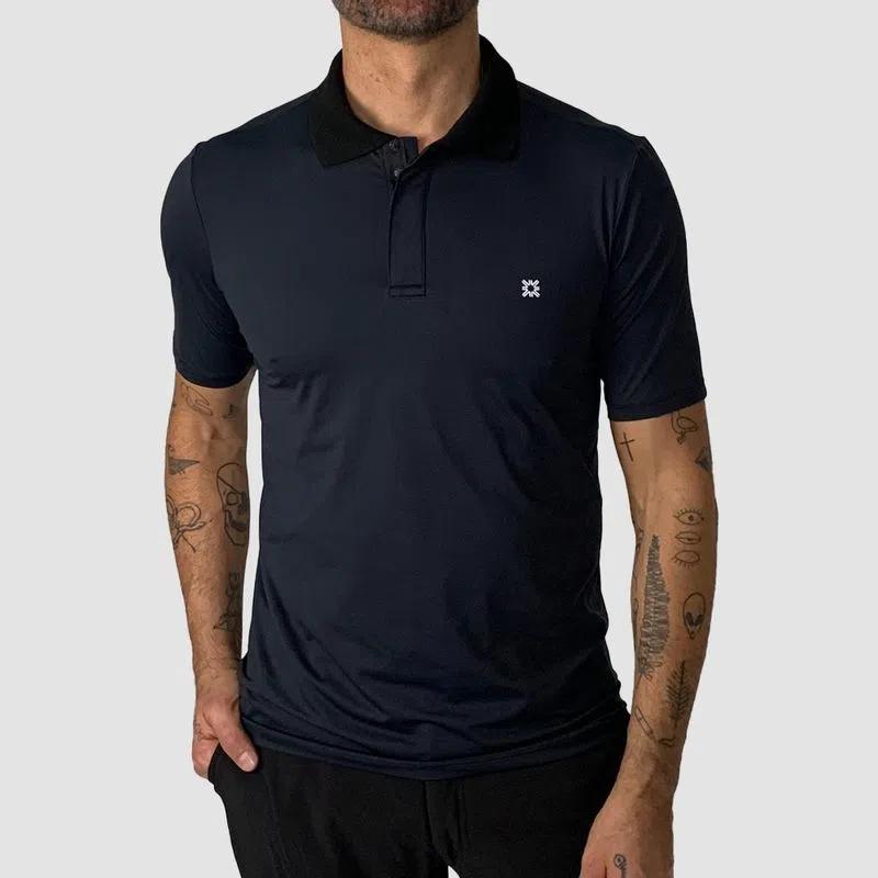 UV LINE Camiseta Polo Manga Curta Masculino Preto Proteção Solar