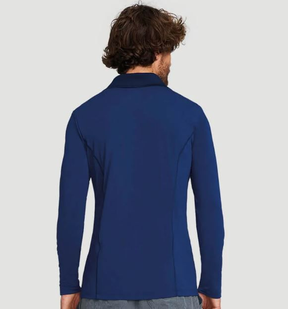 UV LINE Camiseta Polo Manga Longa Masculina Marinho Proteção Solar