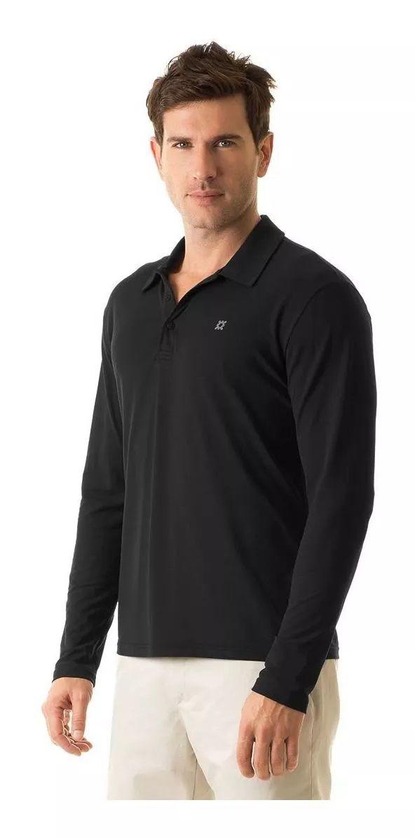 UV LINE Camiseta Polo Manga Longa Masculina Preto Proteção Solar
