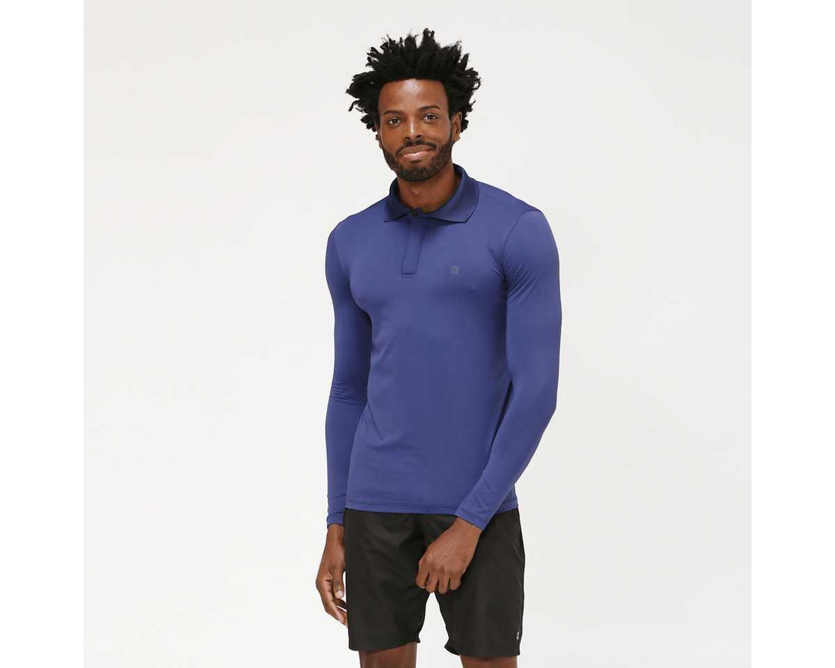 UV LINE Camiseta Polo Manga Longa Masculino Marinho Proteção Solar
