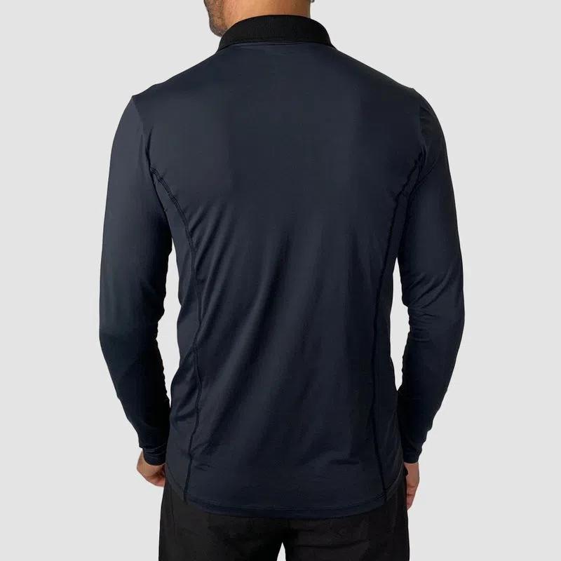 UV LINE Camiseta Polo Manga Longa Masculino Preto Proteção Solar