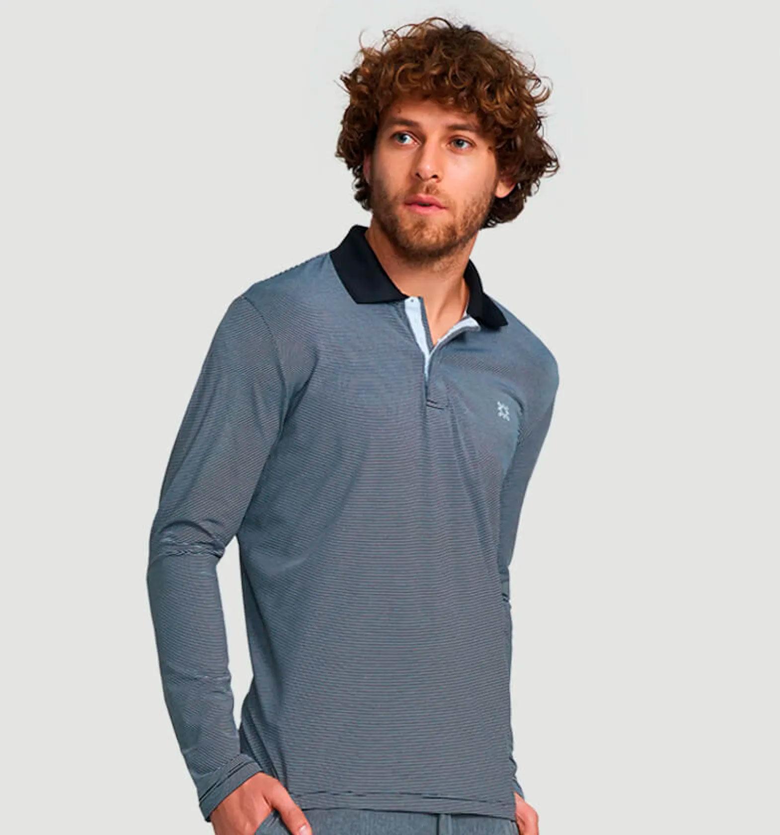 UV LINE Camiseta Polo Mescla Masculina Manga Longa Cinza Proteção Solar
