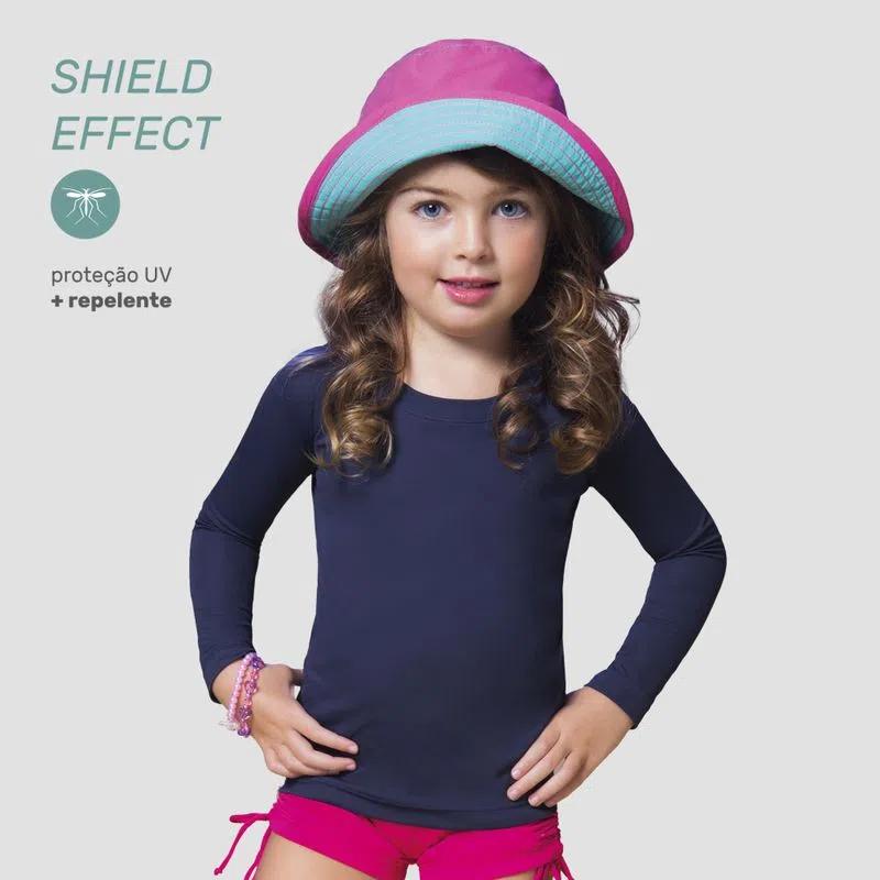 UV LINE Camiseta Repelente Manga Longa Infantil Proteção Solar