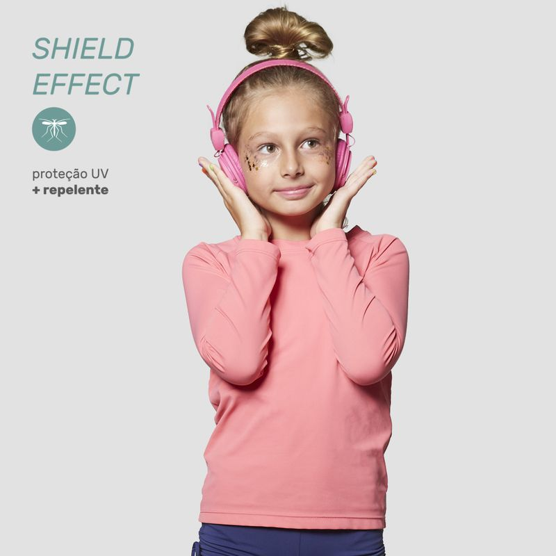 UV LINE Camiseta Repelente Manga Longa Infantil Rosa Gloss Proteção Solar