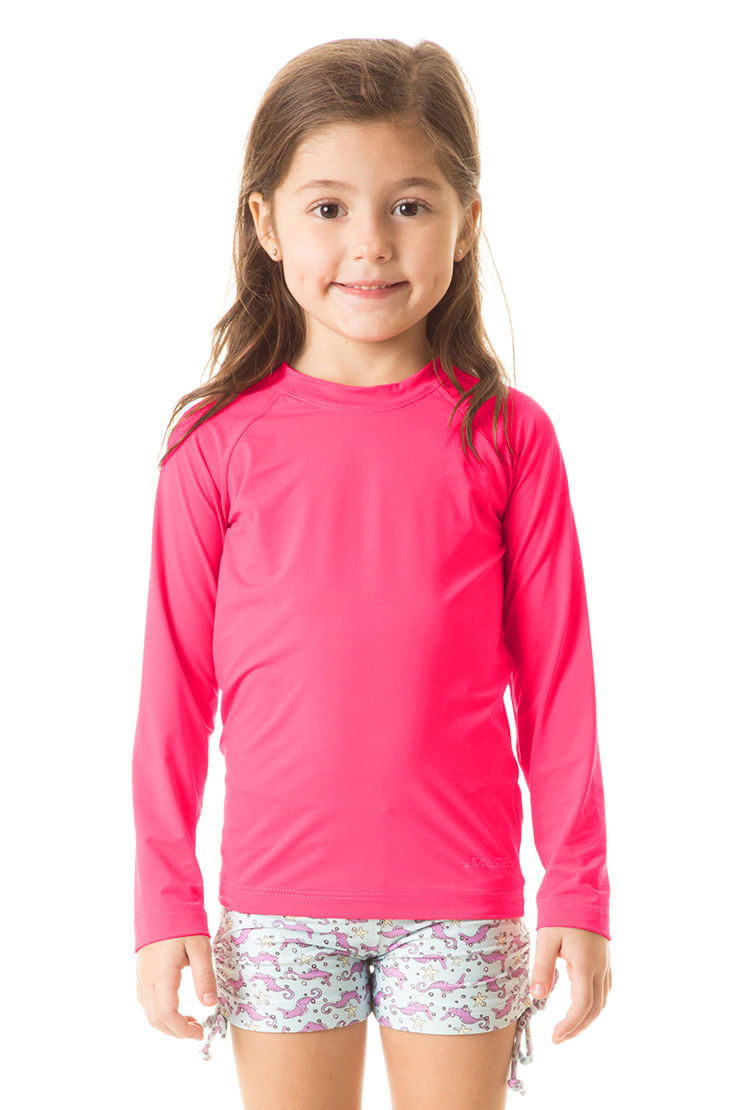 UV LINE Camiseta Repelente Manga Longa Infantil Rosa Proteção Solar