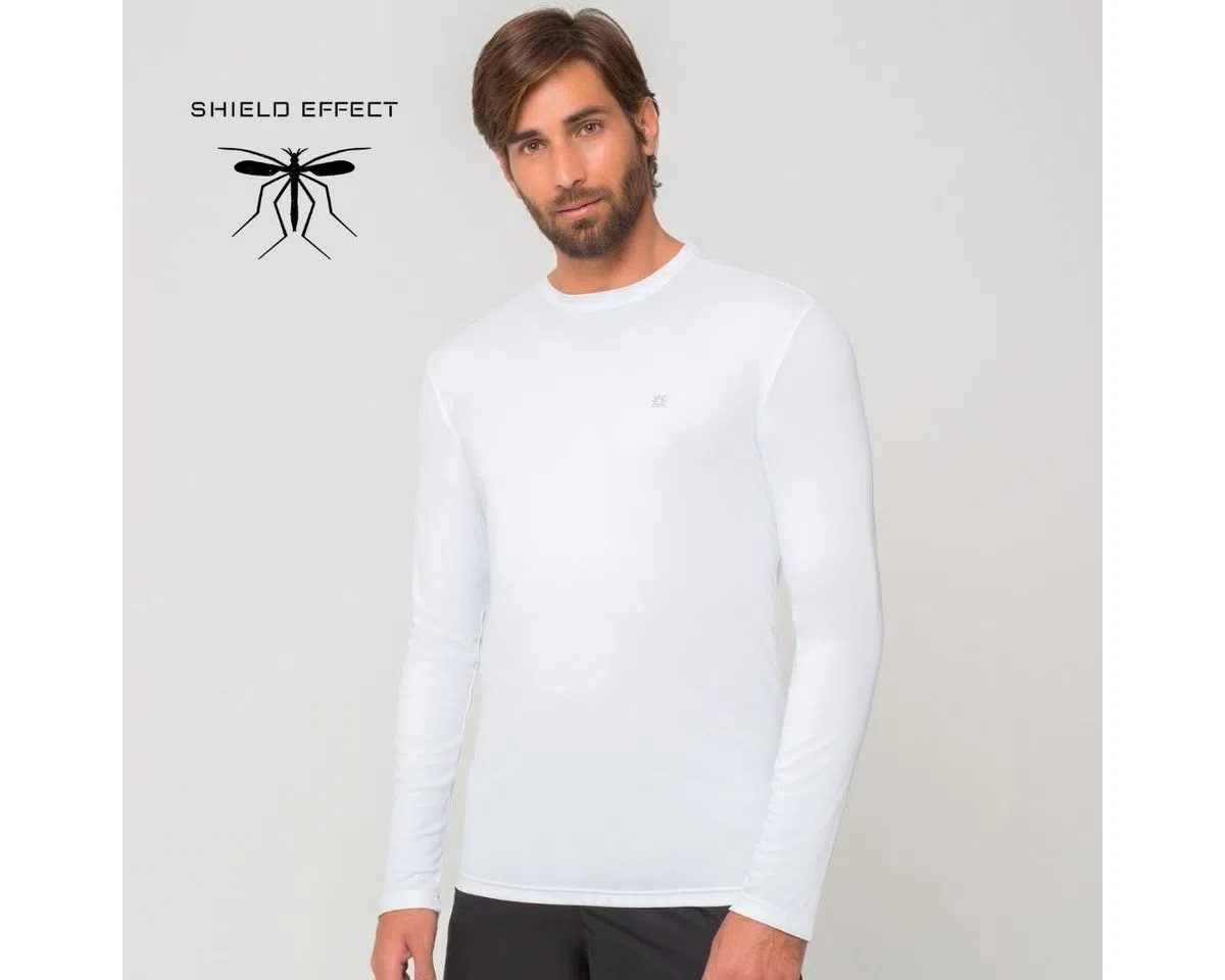 UV LINE Camiseta Repelente Manga Longa Masculina Branco Proteção Solar