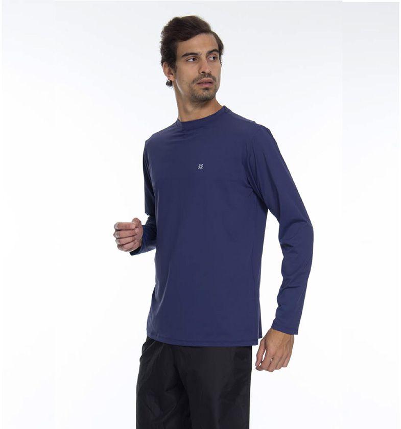 UV LINE Camiseta Repelente Manga Longa Masculina Marinho Proteção Solar