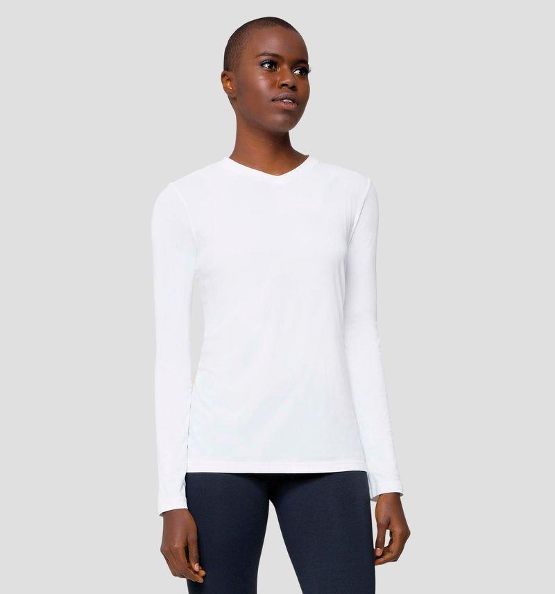 UV LINE Camiseta Sport Fit Feminino Manga Longa Branco Proteção Solar