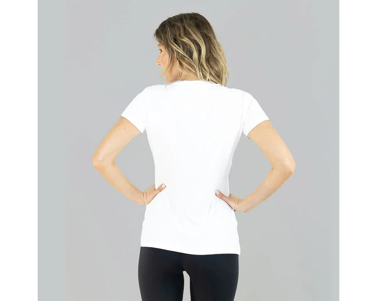 UV LINE Camiseta Sport Fit Manga Curta Feminino Branco Proteção Solar