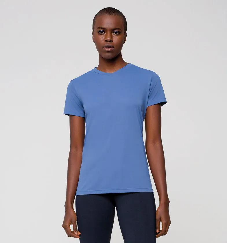 UV LINE Camiseta Sport Fit Manga Curta Feminino Índigo Proteção Solar