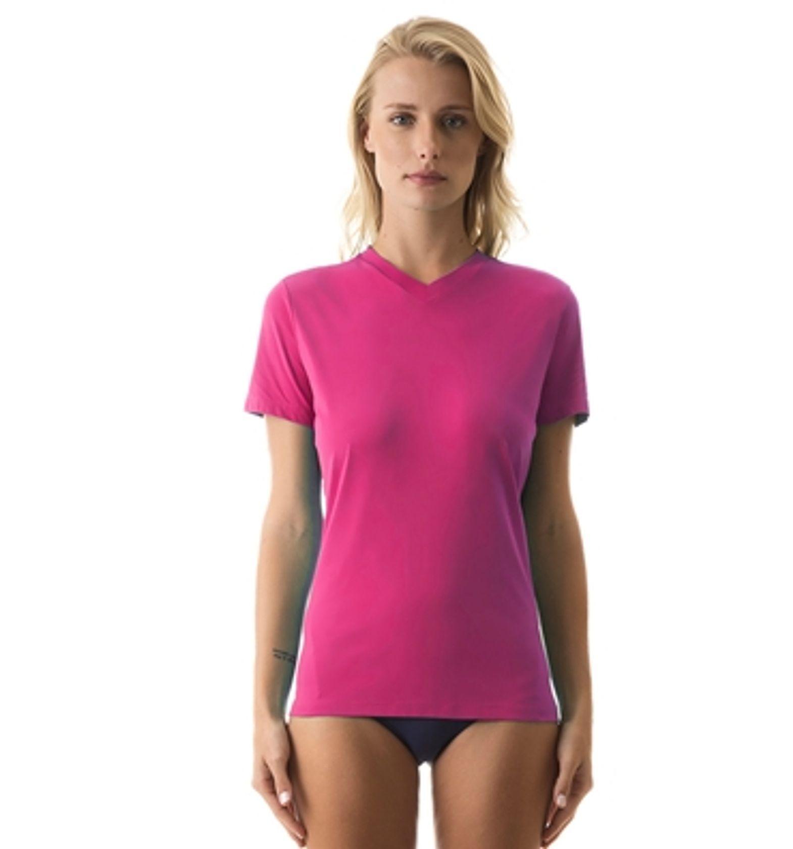UV LINE Camiseta Sport Fit Manga Curta Feminino Magenta Proteção Solar