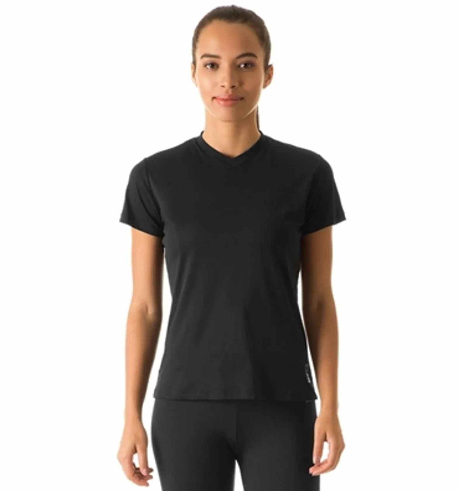 UV LINE Camiseta Sport Fit Manga Curta Feminino Preto Proteção Solar
