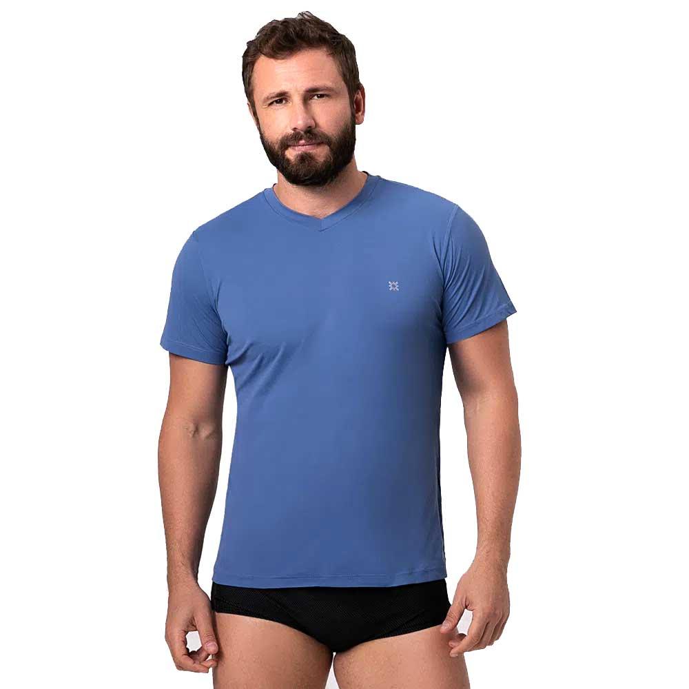 UV LINE Camiseta Sport Fit Manga Curta Masculina Azul Índigo Proteção Solar