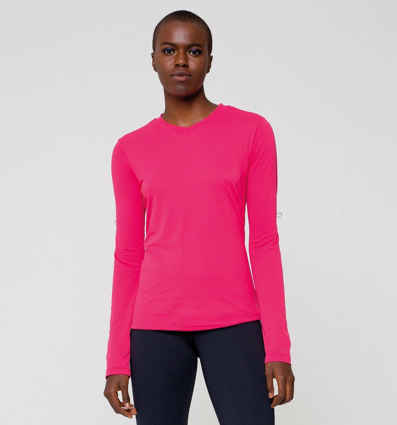 UV LINE Camiseta Sport Fit Manga Longa Feminino Cereja Proteção Solar