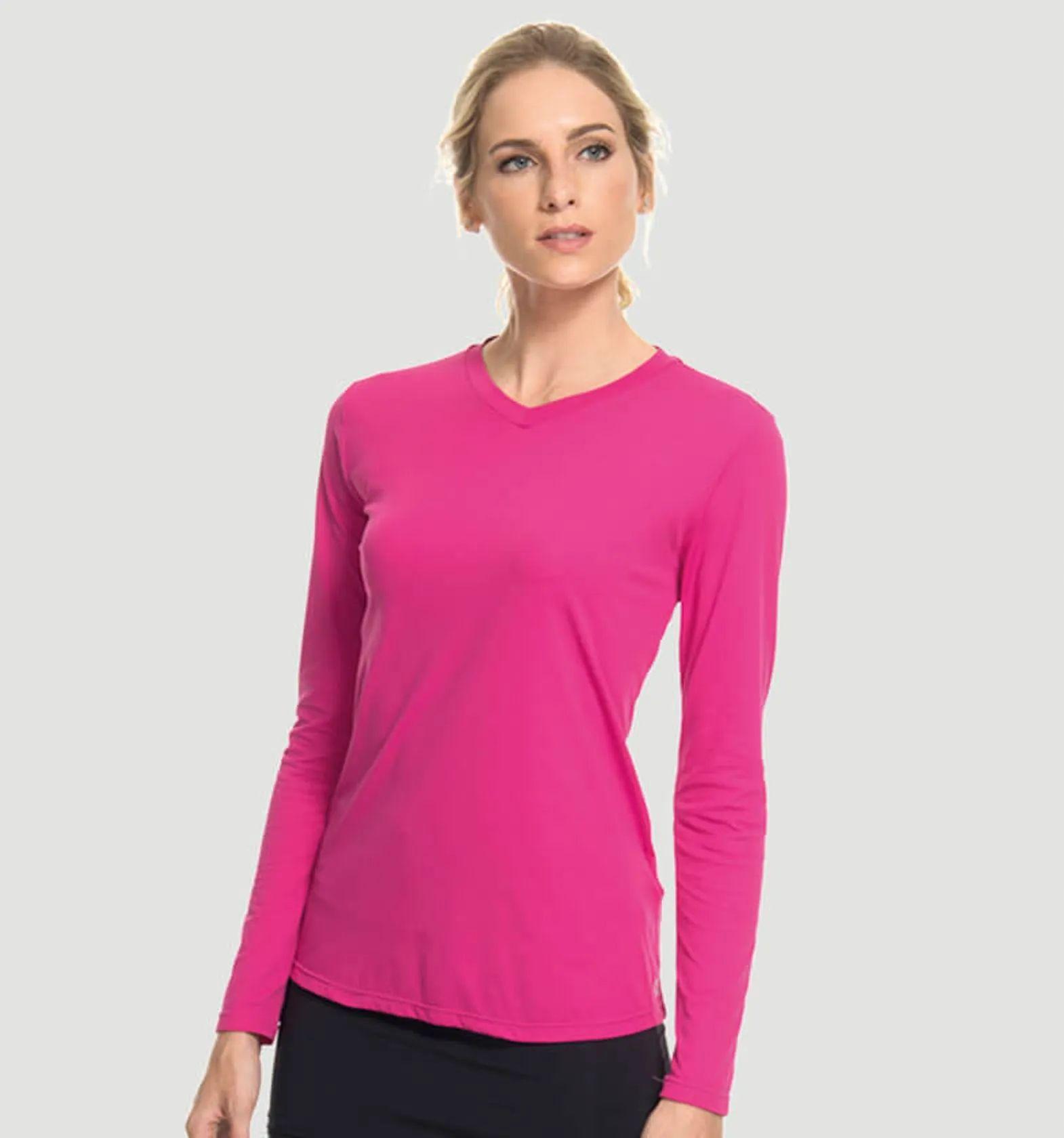 UV LINE Camiseta Sport Fit Manga Longa Feminino Magenta Proteção Solar