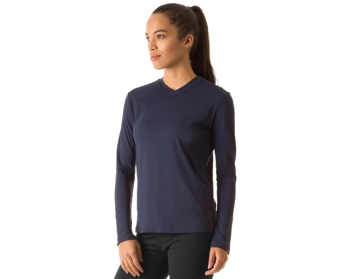 UV LINE Camiseta Sport Fit Manga Longa Feminino Marinho Proteção Solar