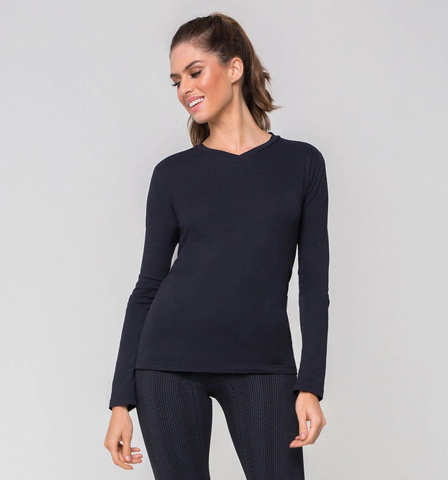 UV LINE Camiseta Sport Fit Manga Longa Feminino Preto Proteção Solar