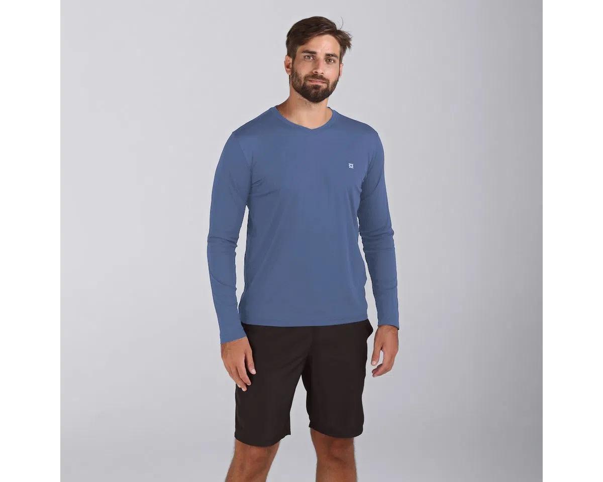 UV LINE Camiseta Sport Fit Manga Longa Masculina Azul Índigo Proteção Solar