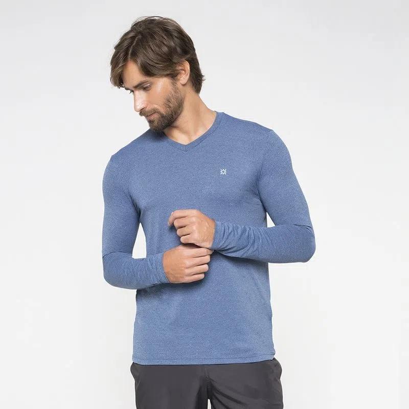 UV LINE Camiseta Sport Fit Manga Longa Masculina Azul Proteção Solar