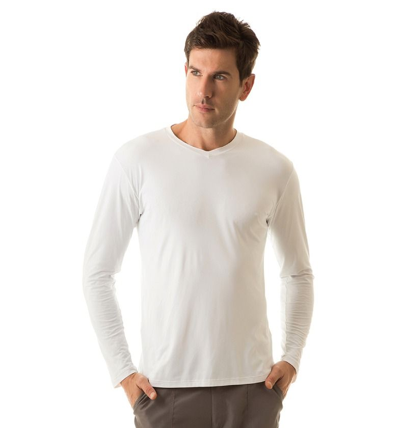 UV LINE Camiseta Sport Fit Manga Longa Masculina Branco Proteção Solar