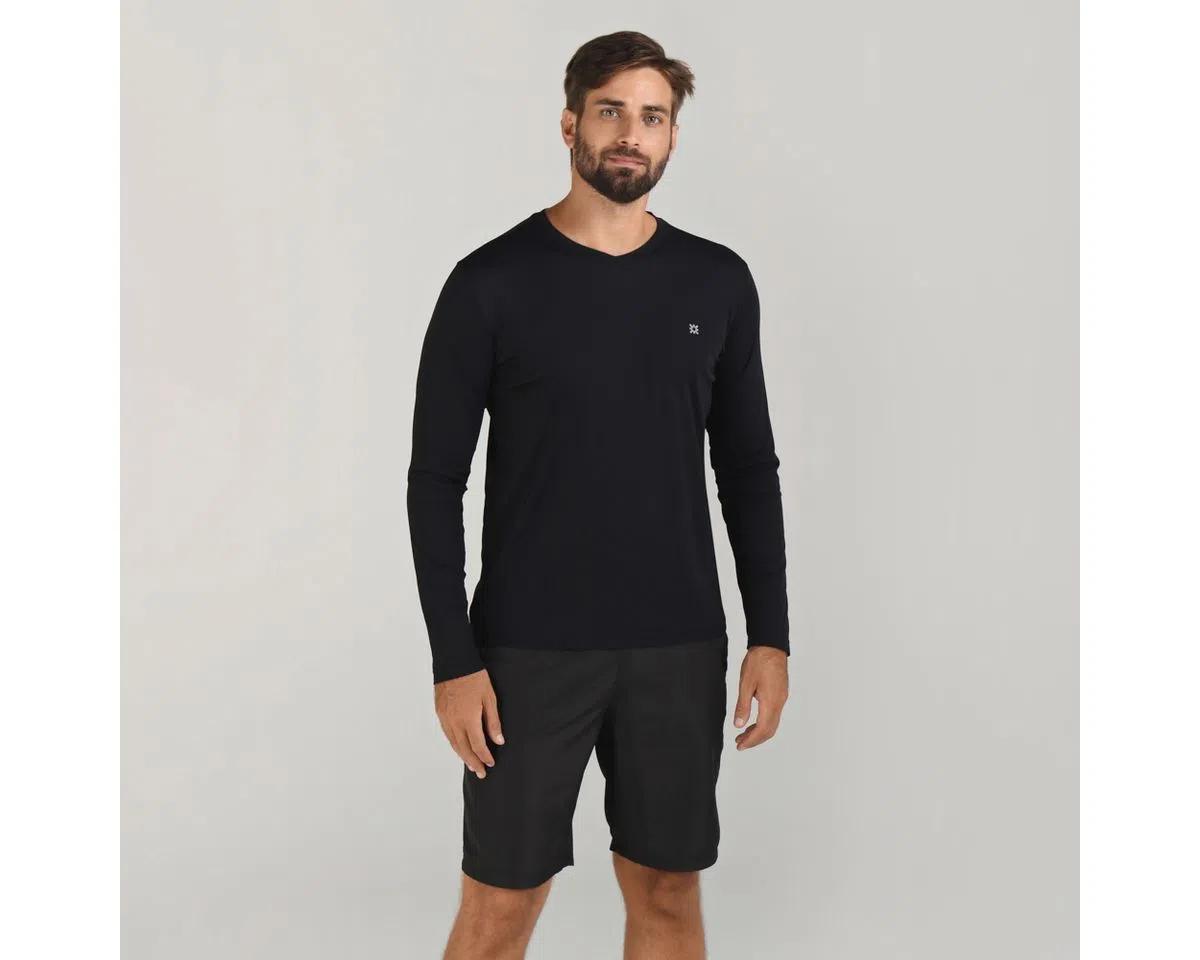 UV LINE Camiseta Sport Fit Manga Longa Masculina Preto Proteção Solar