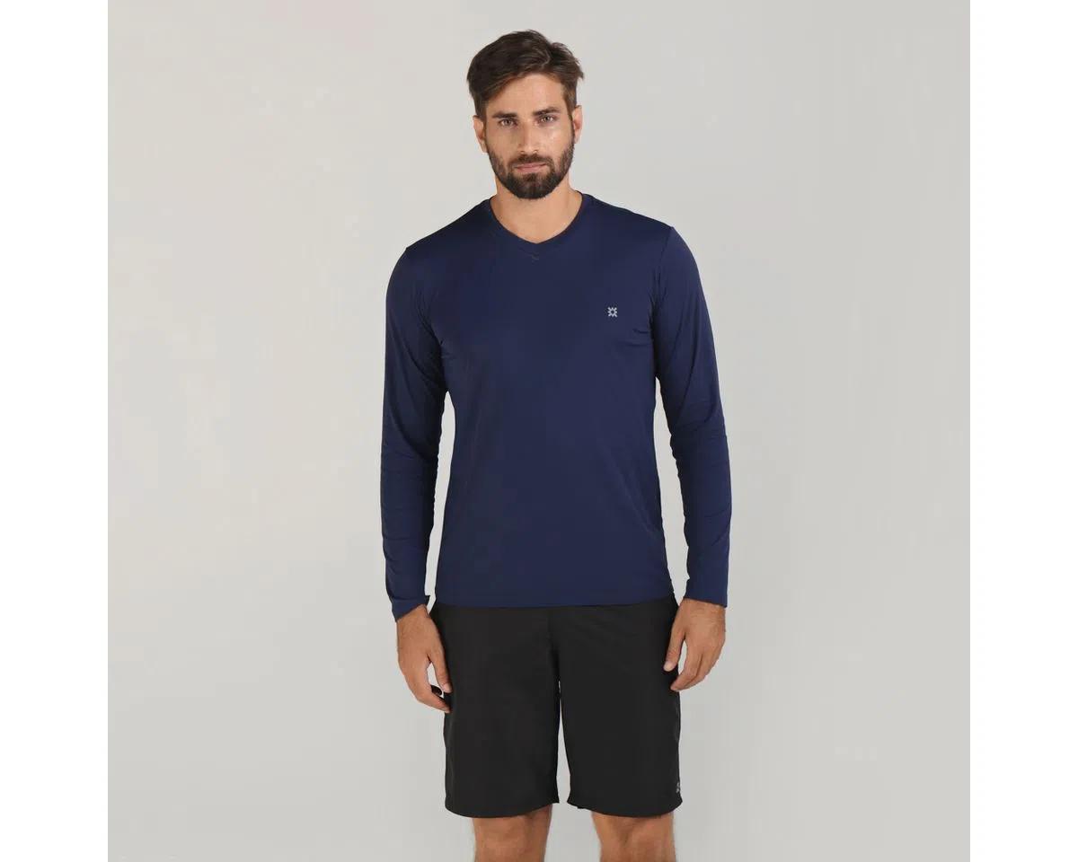 UV LINE Camiseta Sport Fit Manga Longa Masculino Marinho Proteção Solar