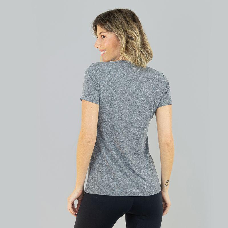UV LINE Camiseta Sport Fit Mescla Feminino Manga Curta Cinza Proteção Solar
