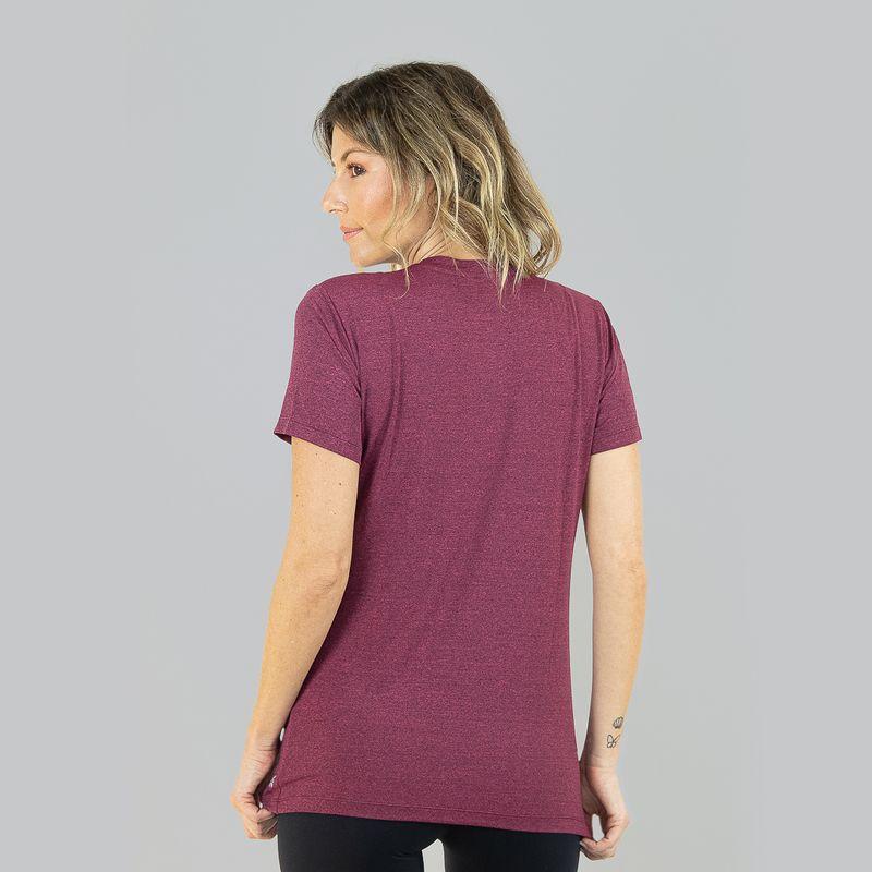 UV LINE Camiseta Sport Fit Mescla Feminino Manga Curta Rosa Proteção Solar