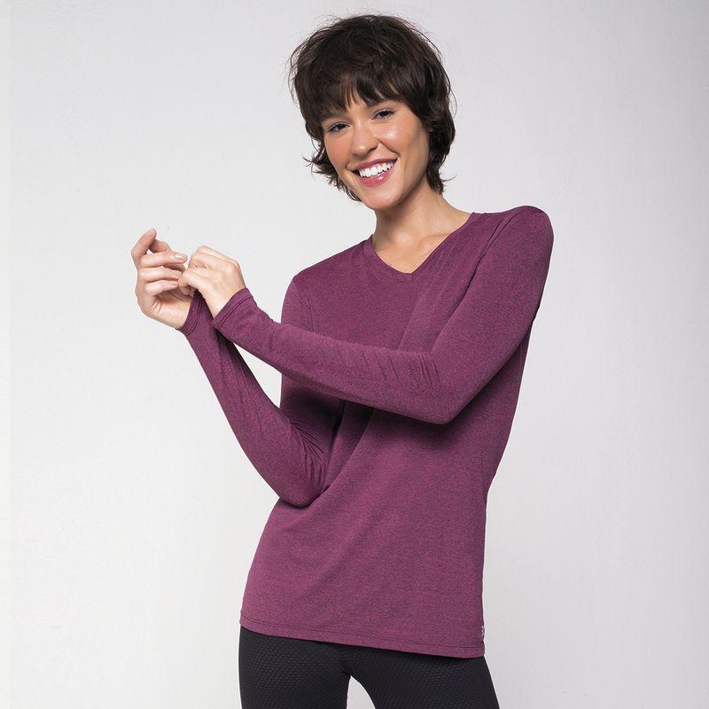 UV LINE Camiseta Sport Fit Mescla Feminino Manga Longa Rosa Proteção Solar