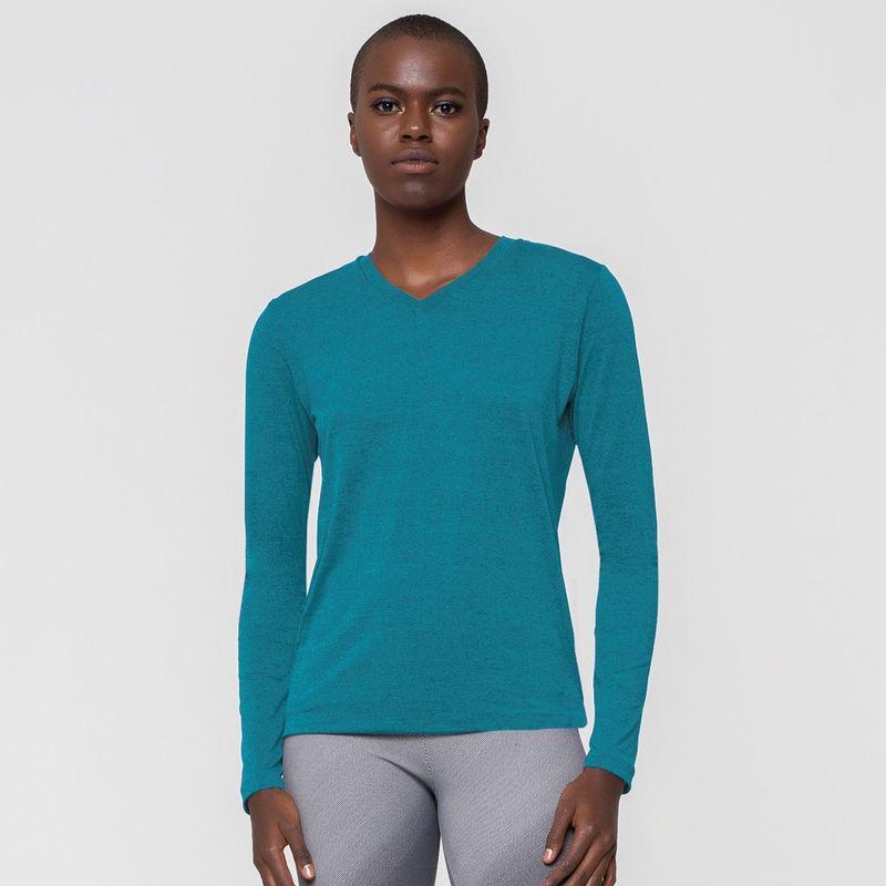 UV LINE Camiseta Sport Fit Mescla Feminino Manga Longa Turquesa Proteção Solar