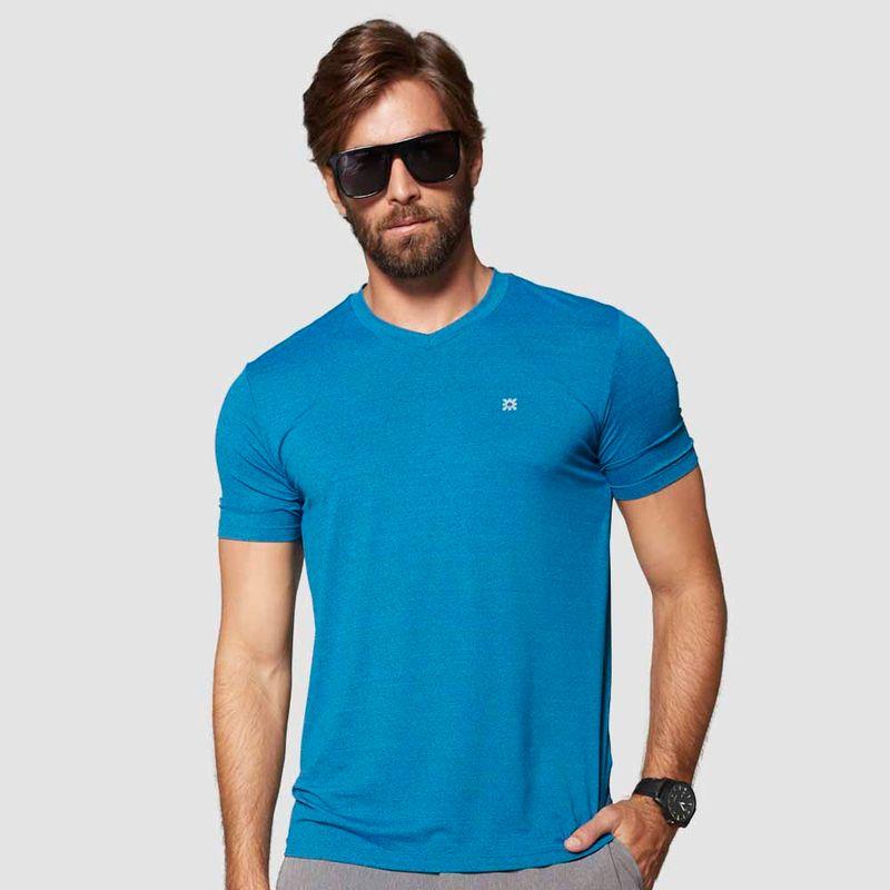 UV LINE Camiseta Sport Fit Mescla Manga Curta Masculina Azul Proteção Solar