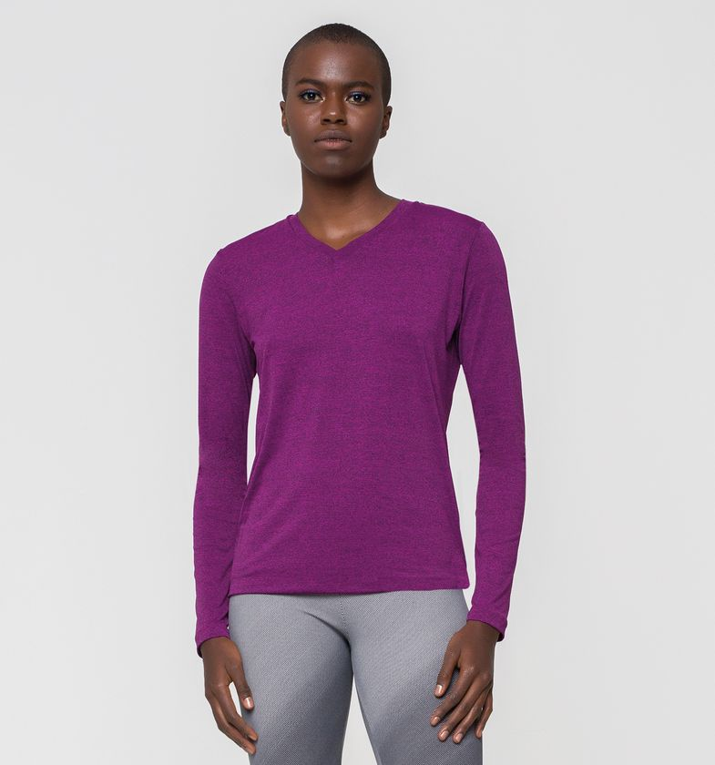 UV LINE Camiseta Sport Fit Mescla Manga Longa Fem Prot Solar