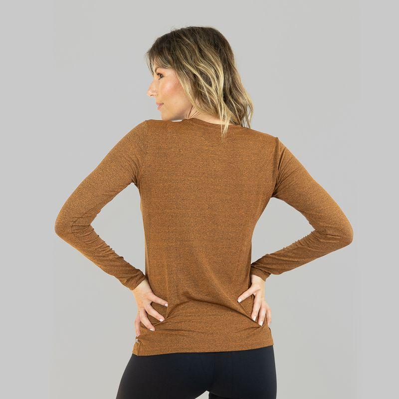 UV LINE Camiseta Sport Fit Mescla Manga Longa Feminino Amarelo Proteção Solar