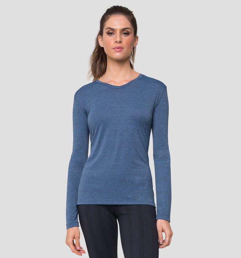 UV LINE Camiseta Sport Fit Mescla Manga Longa Feminino Azul Índigo Proteção Solar
