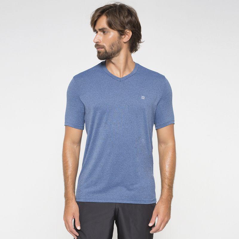 UV LINE Camiseta Sport Fit Mescla Masculino Manga Curta Índigo Proteção Solar
