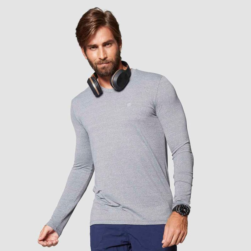 UV LINE Camiseta Sport Fit Mescla Masculino Manga Longa Cinza Proteção Solar