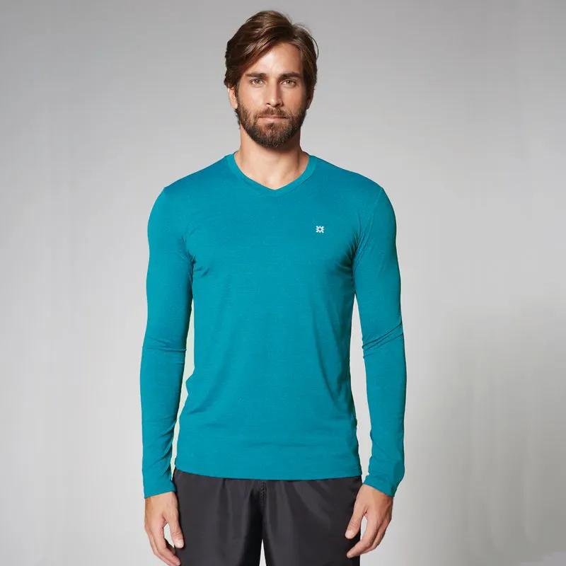 UV LINE Camiseta Sport Fit Mescla Masculino Manga Longa Turquesa Proteção Solar